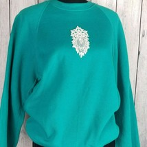 Sturdy Sweats By Lee Teal Textured Sweatshirt Large Vintage Lace Applique - $84.14