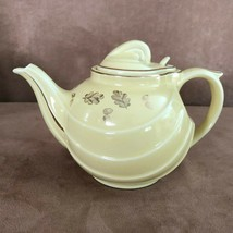 Hall China Parade Teapot 0799-SG 6 Cup Gold Canary Yellow vintage pottery leaves - $49.50