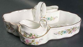 3 PC AYNSLEY WILD TUDOR STRAWBERRY BASKET HANDLE CREAMER SUGAR BOWL TRAY... - $126.22