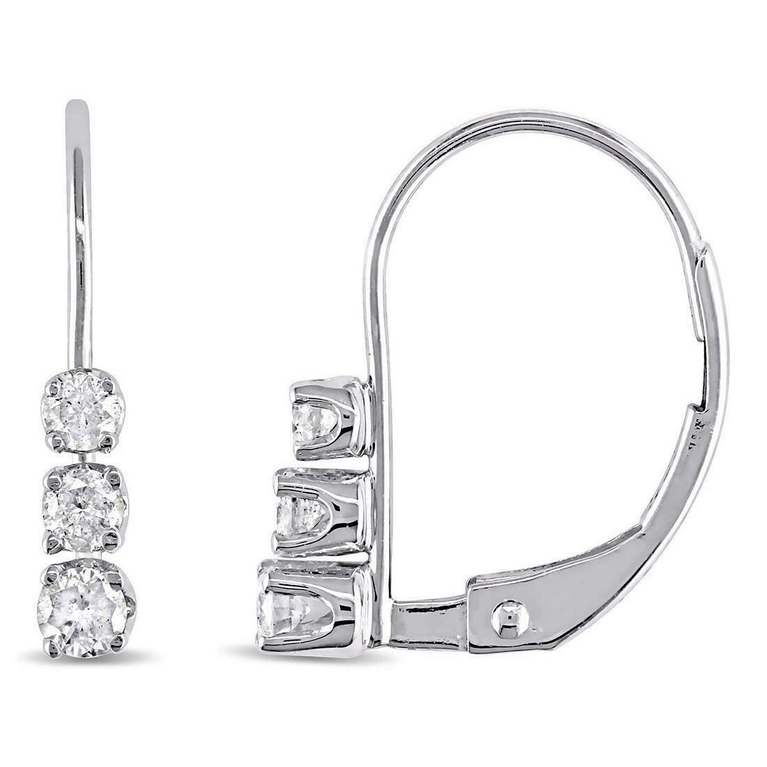 Primary image for 1/2ct 3 Stone Diamond Earrings 14K White Gold Over