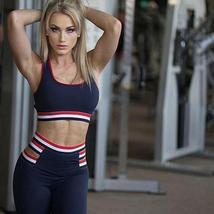 Women Striped Yoga Gym Sportwear Bra & Leggings High Stretch Yoga Suits Quick Dr