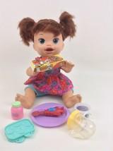 Baby Alive Snackin Sara Doll Hasbro Interactive Lot Talks Eats Poops Lau... - $51.63