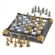 Chess Set Medieval Knights and Dragons Battleground Game - $108.85