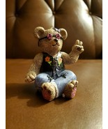 Vintage Peace Bear Christmas Ornament Claire 1997 holiday figurine Hippi... - $19.86