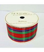 "Christmas Ribbon Holiday Memories Tartan Plaid Frank's Nursery 2 1/2"" X ... - $24.99"