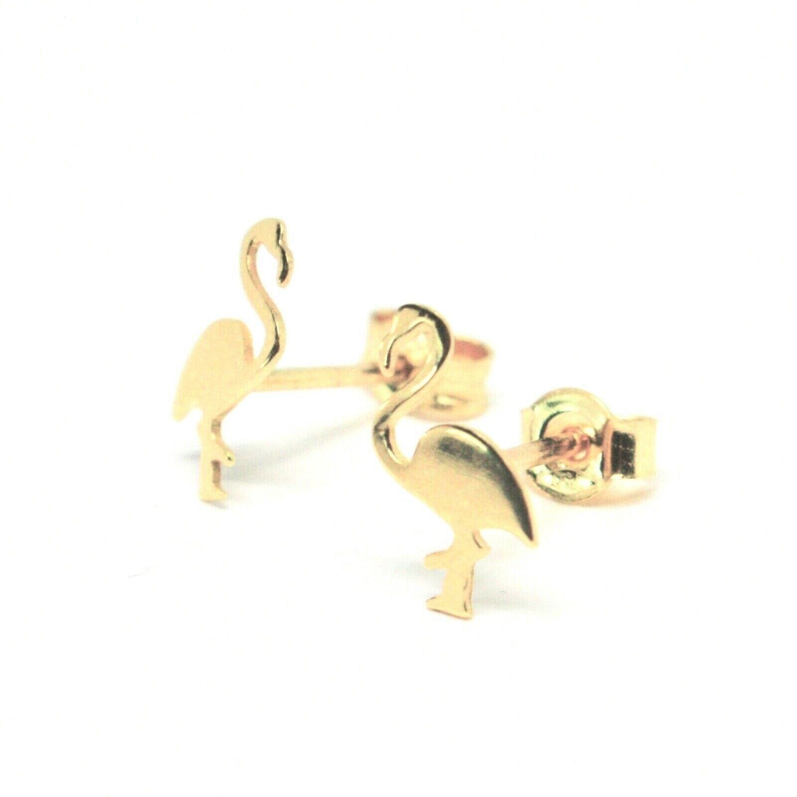 Boucles D'Oreilles or 18K 750 en Forme de Flamant Plaque Brillante Made Italie