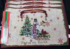 4 Winter Holiday SNOWMAN Christmas Tapestry Woven Jacquard Placemats 19 ... - $26.99