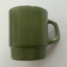 Vintage Fire King Green Stackable Coffee Mug D Handle Anchor Hocking - $9.89