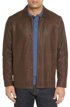 Classic Shirt with Front Button Collar Men's Genuine Soft Leather Jacket Biker