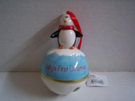 Baby's First ChristmasBell Ornament with Penquin Design, Brand New - $15.99