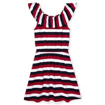 NWT The Childrens Place Girls Americana Striped Sleeveless Ruffle Dress - $10.99