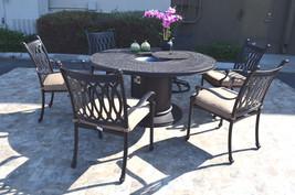 Cast Aluminum 7 Piece Round Propane Firepit Dining Table Grand Tuscany Set image 1
