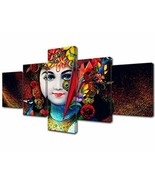 Indian Paintings Sri Krishna Wall Art Radha Pictures 5 Piece Canvas Hind... - $56.10