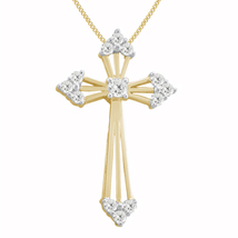 0.83 Ct Round Diamond 14K Yellow Gold Finish Religion Cross Pendant W/18... - $106.99