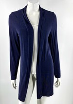 Laura Ashley Cardigan Top Size Medium Purple Solid Open Front Slinky Kni... - $24.75