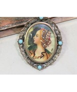 Antique 800 Silver Hand Painted Portrait Brooch Pendant Woman w Snake at... - $122.76