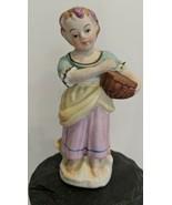 "Vintage MARURI JAPAN Figurine Peasant Girl With Basket 5"" - $8.42"