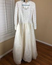 Vtg 80s Boho Wedding Dress Gown Modest  Long Sleeve Lace Top Full Skirt ... - $129.00