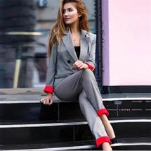 Spring Autumn Double Breasted Office Ladies Plaid Blazer suits sets Fashion Wome image 2