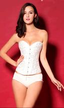 pf035 sexy strapless sartin corset, size xs-2xl, white - $42.80