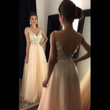 New Champagne A-line V-neck beading long prom dresses,evening dresses - $169.00