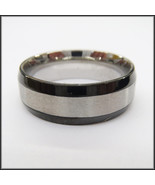 Stainless Steel Stamped Ring 8mm, Black Edge - $14.89+