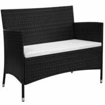 vidaXL Garden Bench Poly Rattan Wicker Black Outdoor Seat Chair Patio Di... - $141.99
