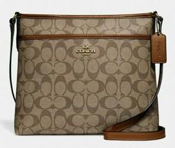 New Coach 29210 Signature File Bag Crossbody handbag Khaki / Saddle 2 - $88.00