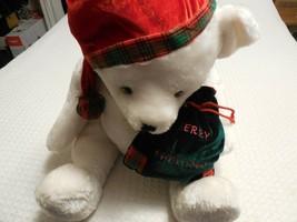 "Fiesta Stuffed Plush Teddy Bear 17"" Sitting White Xmas Bear Christmas - $26.98"