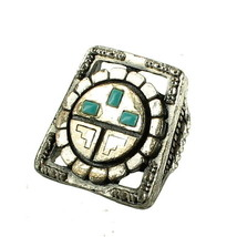 VINTAGE FUNKY SILVER PLATED MAYAN FAUX TURQUOISE RING ADJ MOD 1960'S SZ 5-7 - $89.99