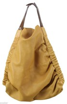 MARNI Shopper Tote Bag Yellow Leather Purse Brown Handle Silver Large - $445.50