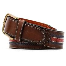 Tommy Hilfiger Men's 35MM Center Stripe Stitch Leather Belt Brown 11TL02X057 image 6