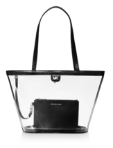 Michael Kors Rita Med Tote Bag Shopper Vinyl Clear Transparent Black NEW - $128.70