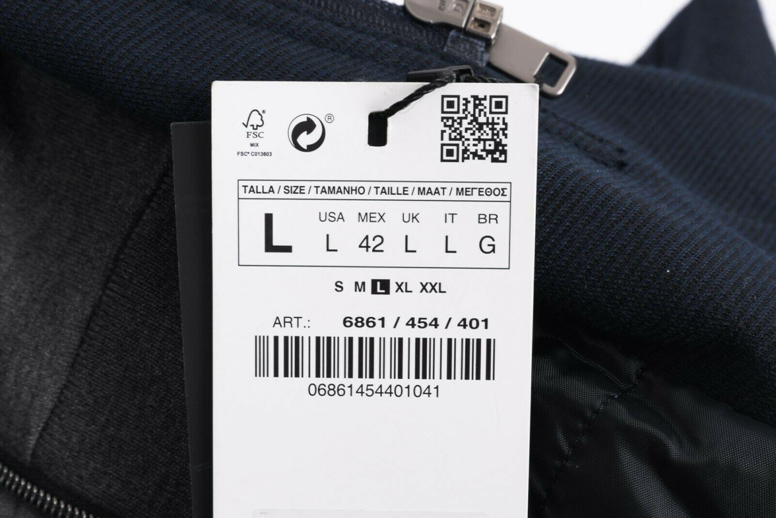 Zara Man Mens Jacket Coat Blazer Removeable Interior Navy Blue Gray Hooded NWT image 8