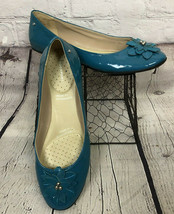 Rockport Adiprene By Adidas Blue Teal Patent Leather Flats Floral Toe 10M - €26,53 EUR