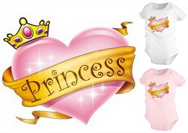 PRINCESS Heart crown baby infant bodysuit snapsuit One piece creeper Fun... - $12.99