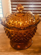 """Fenton Amber Color Lidded Dish Daisy and Button 6"""" w Lid - $35.00"""