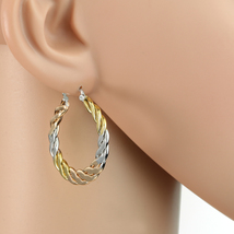 Interwoven Tri-Color Silver, Gold & Rose Tone Hoop Earrings- United Elegance - $14.99