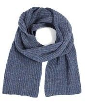 Ferruccio Vecchi Men's Donegal Rib Knit Wool Blend Scarf, Blue Jeans - £48.50 GBP