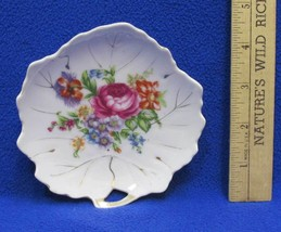 "Nasco Candy Trinket Dish Leaf Shaped w/ Floral Design Colorful 4.5"" Plate - $5.93"