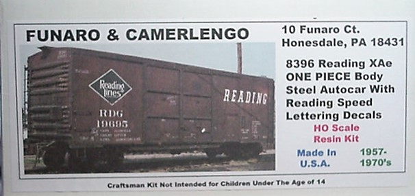Funaro F&C HO READING XAe Steel Autocar w/ Speed lettering decals Kit 8395
