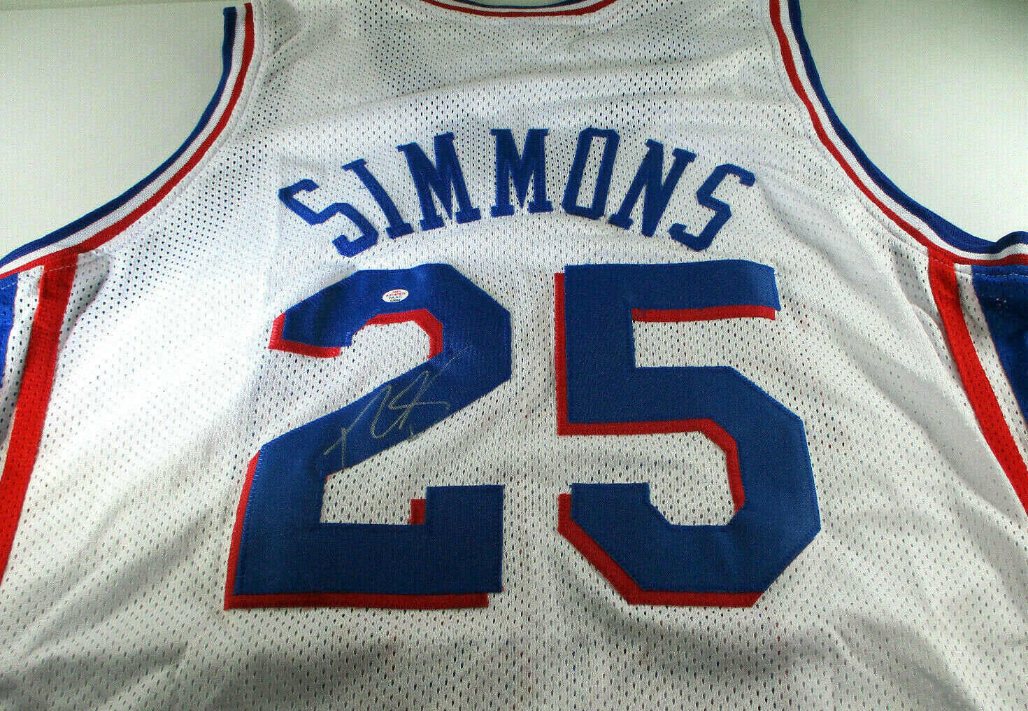 BEN SIMMONS / PHILADELPHIA 76ERS / AUTOGRAPHED 76ERS BLUE CUSTOM JERSEY / COA