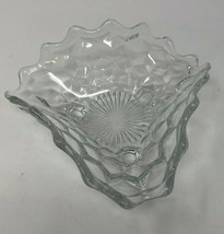 Authentic Fostoria Clear Cubist Triangle 3 Sided Footed Dish 7x6 (FOSCC) - $14.43