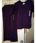 CHEROKEE SCRUBS SET  SIZE XS  PURPLE--WORKWEAR--TOPS / BOTTOMS---FREE SH... - $28.08