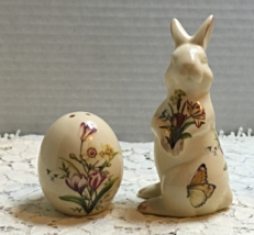 Vintage RABBIT WITH EGG Salt & Pepper Shaker Set EASTER Dinner FLORAL DE... - $10.99