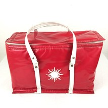 Nappy Thermo-keep Cooler Red and White Vintage Soft Sided Insulated Picn... - $22.98