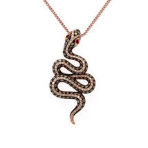 Snake Pendant With Chain 14k Rose Gold Plated 925 Silver Round Cut Multi Stone - $95.20