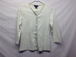 The Limited White/Green Horizontally Striped Shirt Sz M