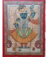 Large shrinathji original hand painted on cloth pichwai painting indian ... - $444.13