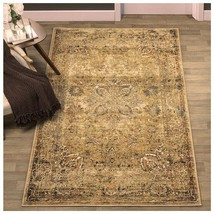 Superior Eilir 5' x 8' Area Rug Distressed Vintage Floral Design w/ Jute... - $169.95